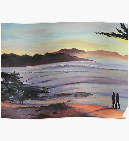 Carmel Peachy Sunset Painting Poster