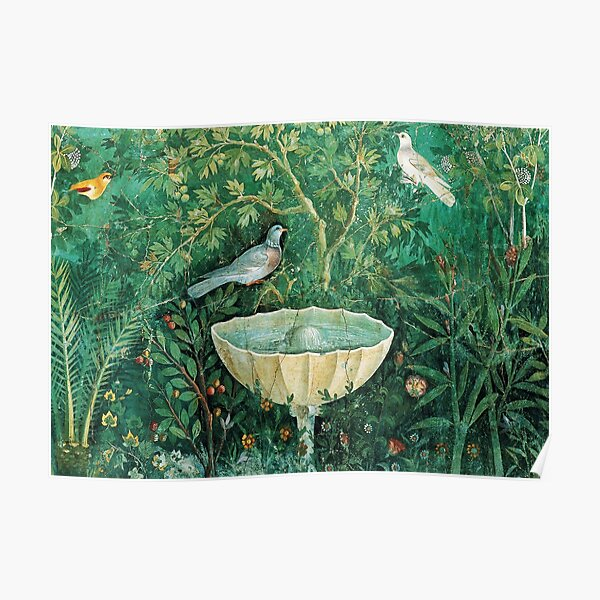 POMPEII COLLECTION,LITTLE BIRDS,DOVES AND FOUNTAIN  IN GARDEN ,GREEN FLORAL Poster