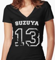 Juuzou Suzuya Collegiate Splatter Women's Fitted V-Neck T-Shirt