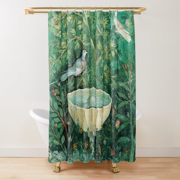 POMPEII COLLECTION,LITTLE BIRDS,DOVES AND FOUNTAIN  IN GARDEN ,GREEN FLORAL Shower Curtain