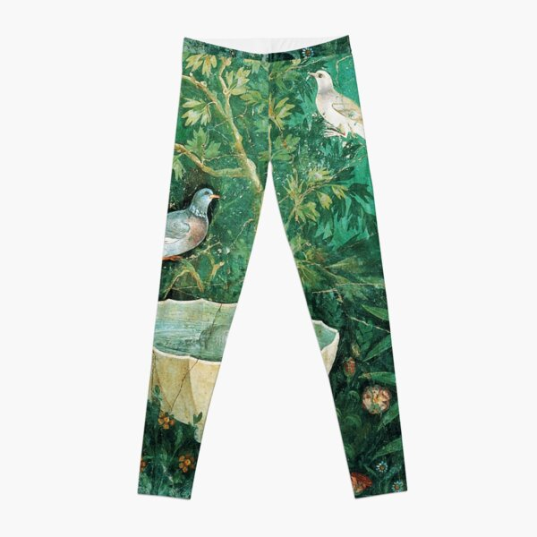 POMPEII COLLECTION,LITTLE BIRDS,DOVES AND FOUNTAIN  IN GARDEN ,GREEN FLORAL Leggings