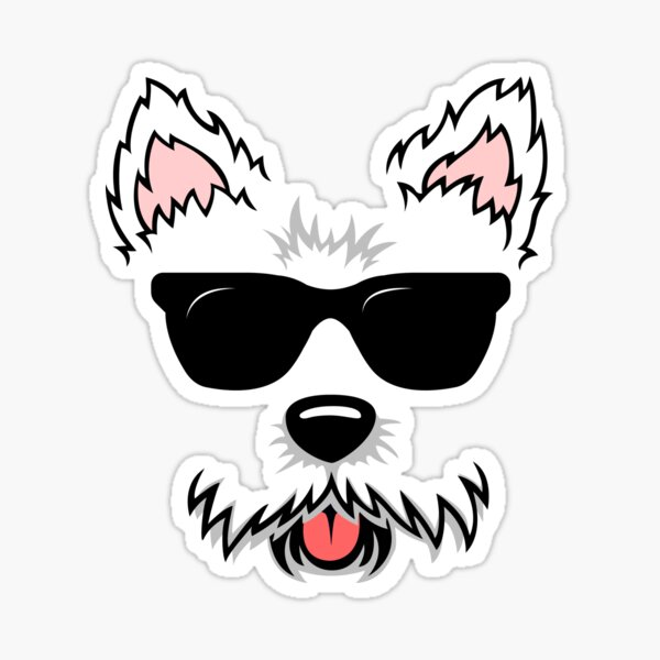 Cute White Terrier Westie Dog Face with Sunglasses for Westie Lovers Sticker