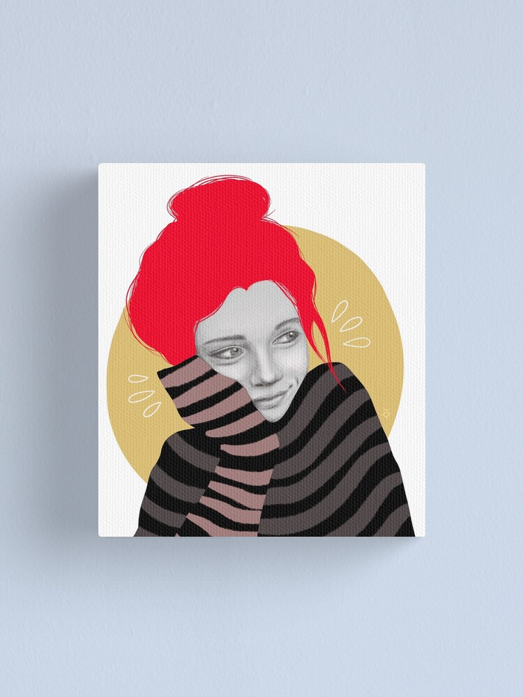 Alternate view of The red haired girl in love, illustration Canvas Print