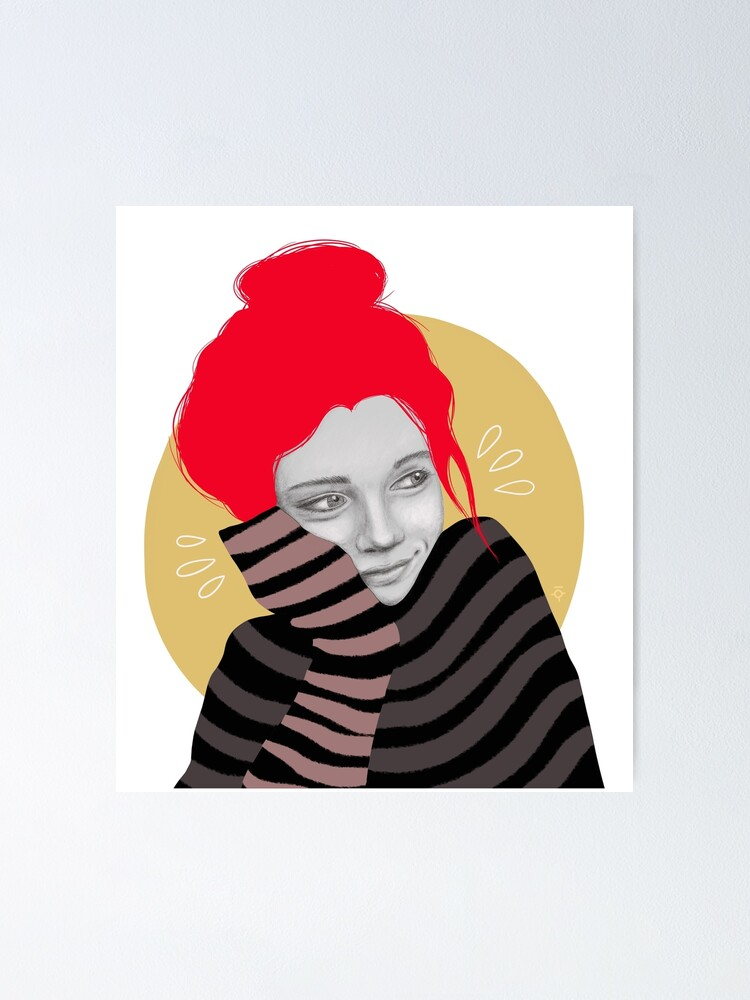 Alternate view of The red haired girl in love, illustration Poster