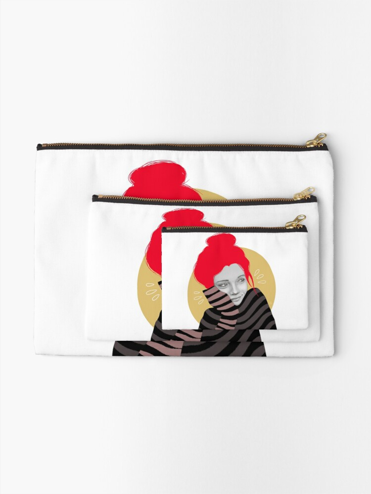Alternate view of The red haired girl in love, illustration Zipper Pouch