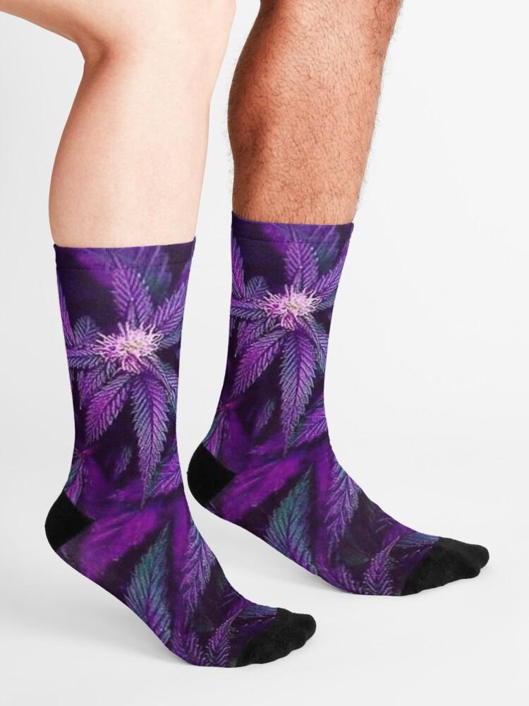 Alternate view of Psychedelic Purple Cannabis Marijuana Weed Pot Leaves Socks