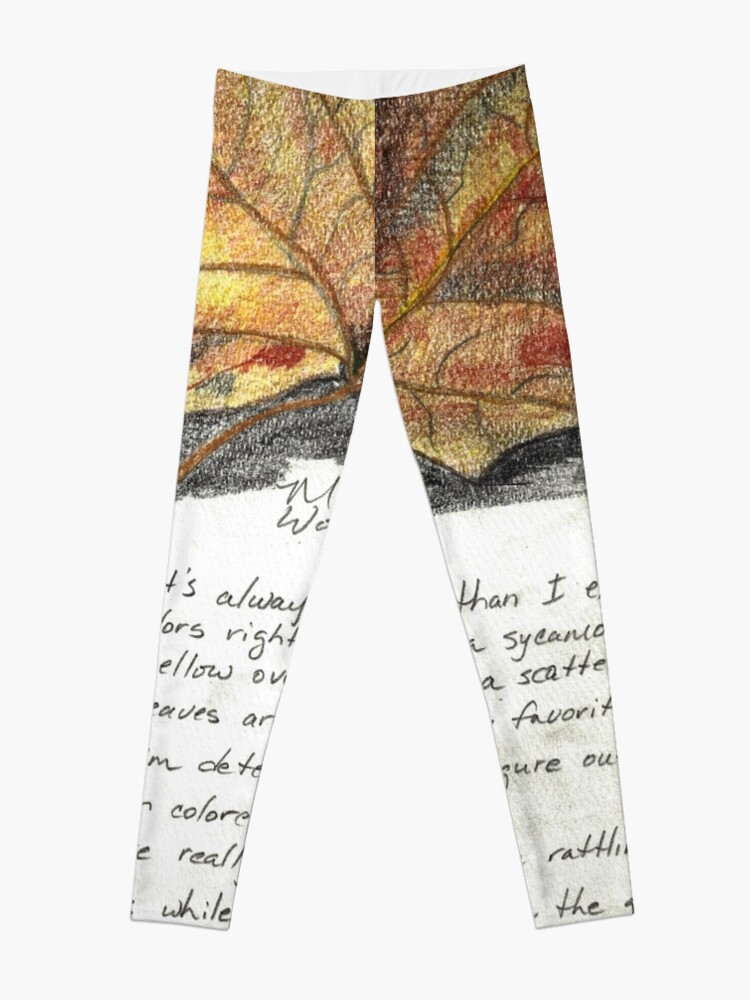 Alternate view of Nature Sketching Day 3- Yellow Sycamore Leaf Leggings