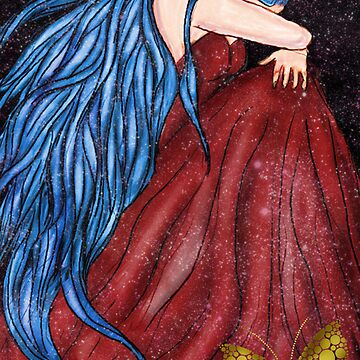 lady weeping by pinks
