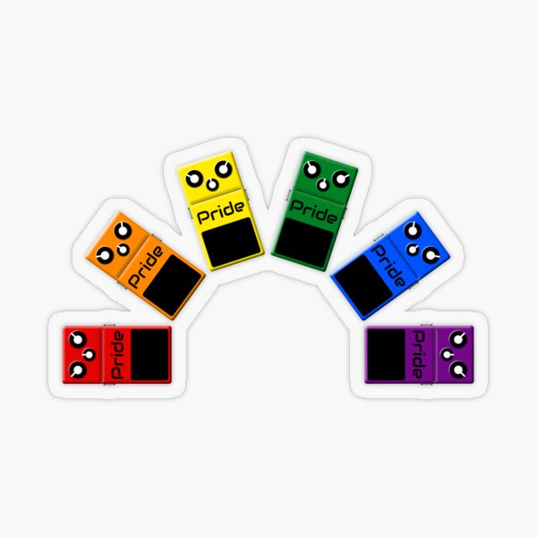 Gay Pride Rainbow Flag - Guitar Effects Pedals Transparent Sticker