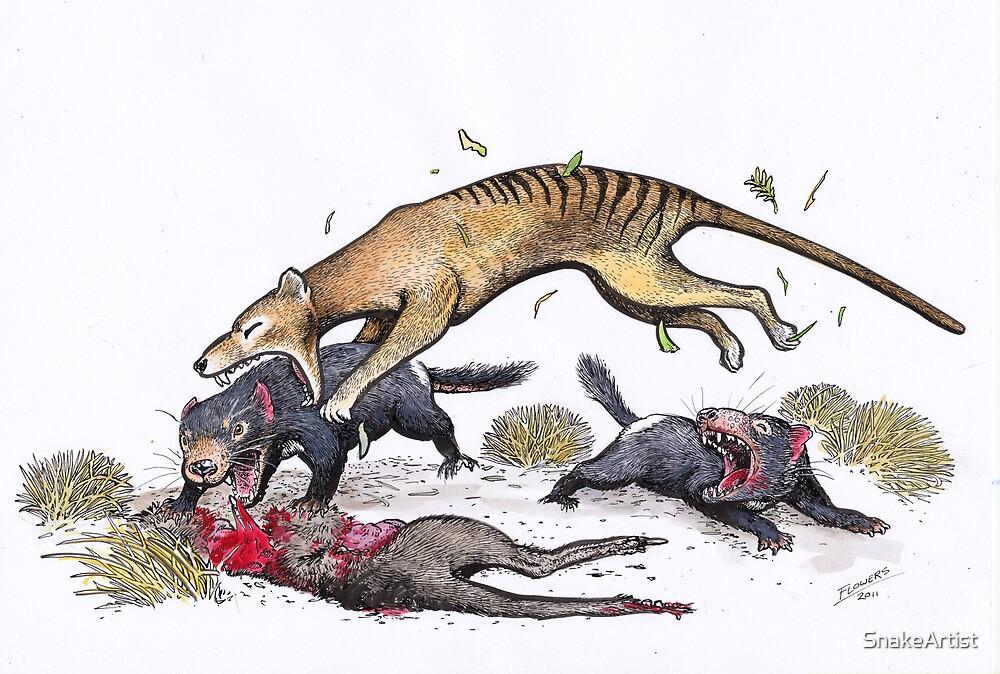 Thylacine attacking the devil by SnakeArtist