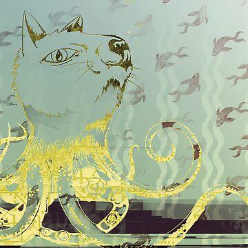 Octo-Puss illustrative print by pidgenhorn