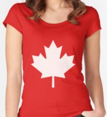 Canada Maple Leaf Flag Emblem Women's Fitted Scoop T-Shirt