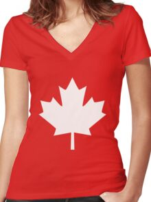 Canada Maple Leaf Flag Emblem Women's Fitted V-Neck T-Shirt