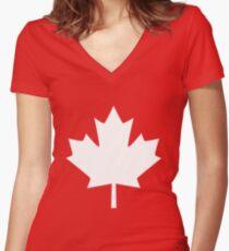 Canada Maple Leaf Flag Emblem Women's Fitted V-Neck T-Shirt