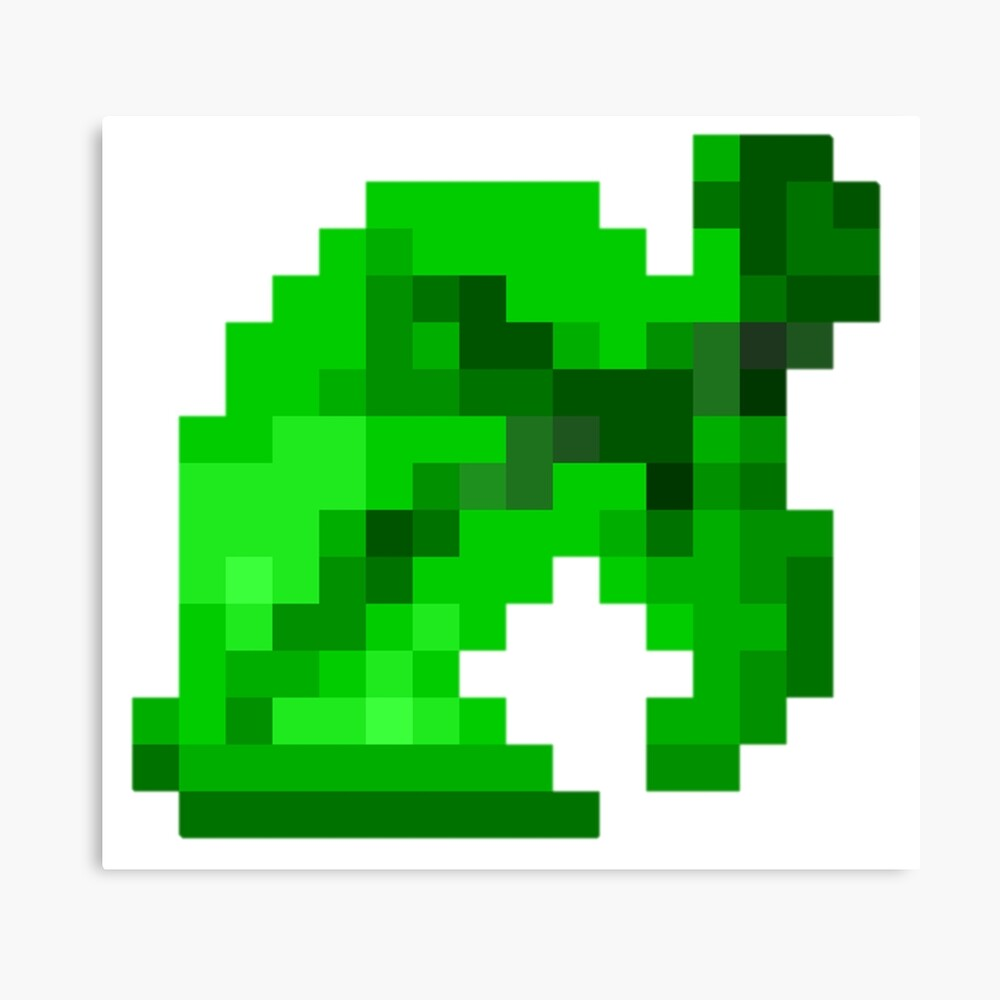 Animal Crossing Leaf Pixel Art Metal Print By Drunkpolarbear Redbubble