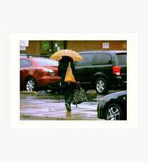 Rainy Day Jaywalker Art Print