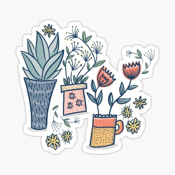 Three Vases of lovely flowers Sticker