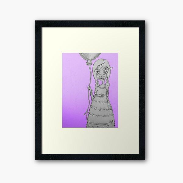 Whimsical Spooky Folk Art Girl - Sugar Skull with Balloon - Purple Glow Framed Art Print