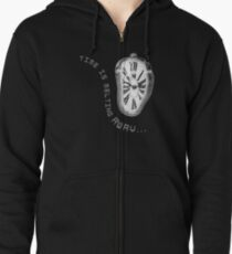 Salvador Dali Inspired Melting Clock. Time is melting away. Zipped Hoodie
