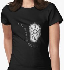 Salvador Dali Inspired Melting Clock. Time is melting away. Women's Fitted T-Shirt