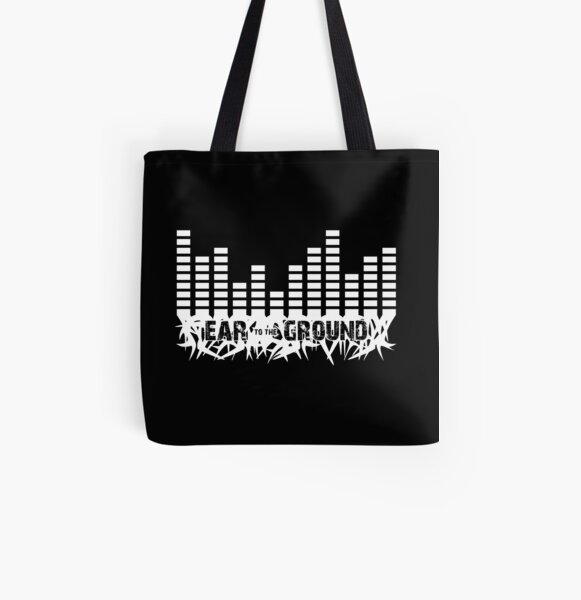 Ear to the Ground Black Tote All Over Print Tote Bag
