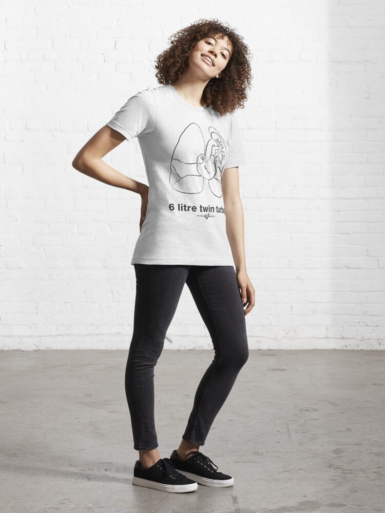 Alternate view of Six Litre Twin Turbo (light shirt) Essential T-Shirt