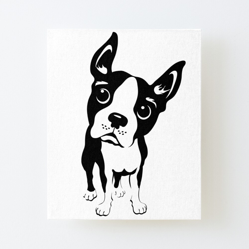 Black And White Boston Terrier Graphic Design Art Board Print By Dkmurphy Redbubble