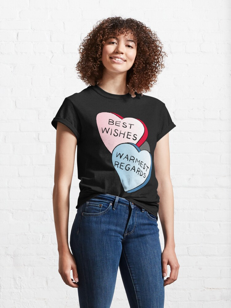 Alternate view of Best Wishes, Warmest Regards on candy. David Rose and Stevie banter awkwardly in Schitt's Creek at the Rosebud Moteel Classic T-Shirt