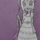 Whimsical Spooky Folk Art Girl - Sugar Skull with Balloon - Purple Haze by erica lubee  ~ SkyBlueWithDaisies