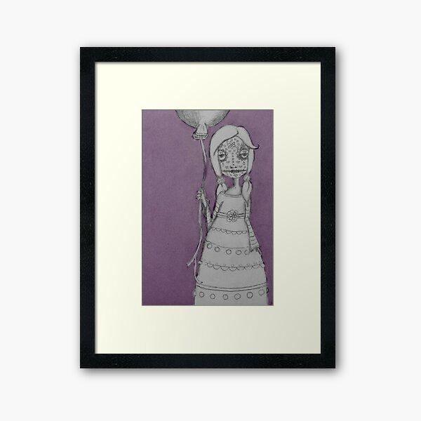 Whimsical Spooky Folk Art Girl - Sugar Skull with Balloon - Purple Haze Framed Art Print