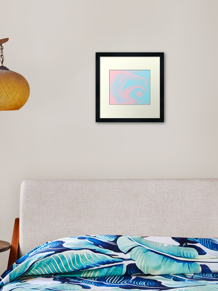 Bubble Pop Aesthetic Holographic Minimalist Pastel Pink Blue Background Framed Art Print By Grdnt Redbubble