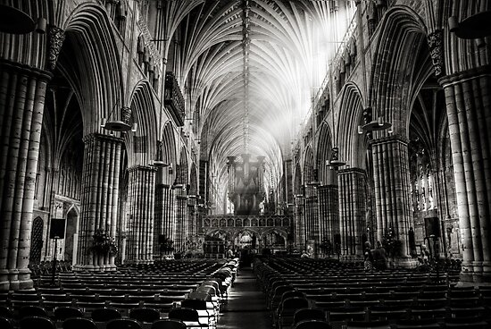 Inside Exeter cathedral in BW by ajgosling