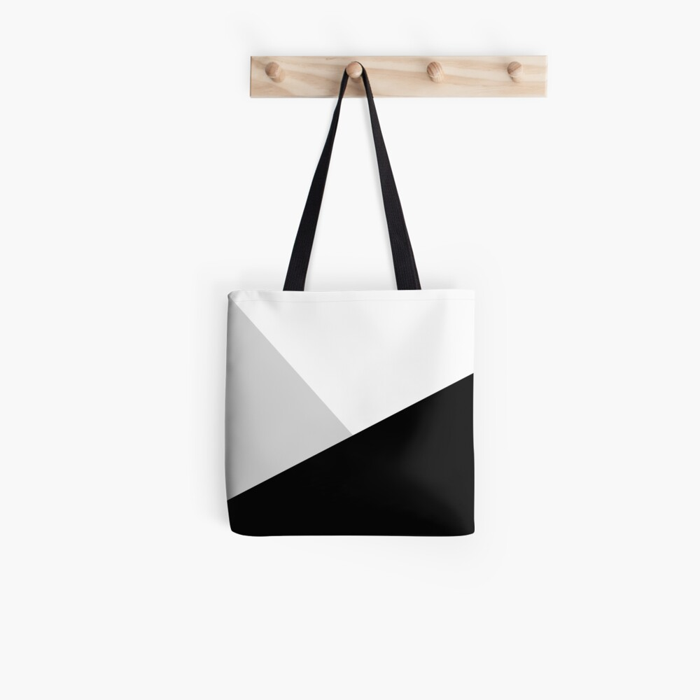 Monochromatic Black White Gray Color Block Tote Bag