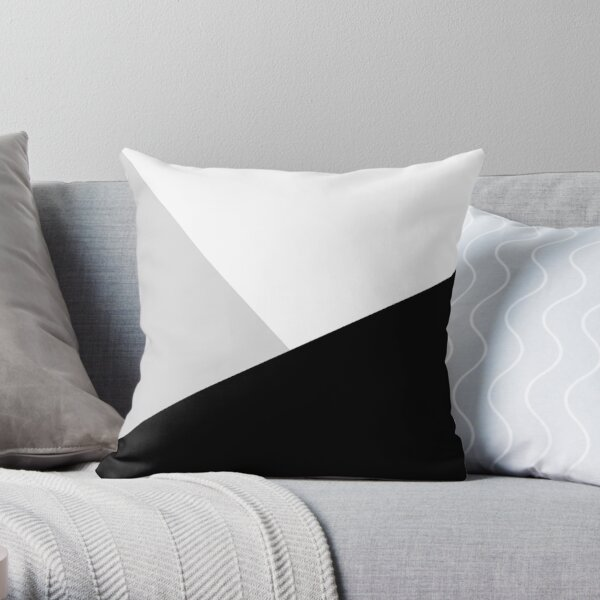 Monochromatic Black White Gray Color Block Throw Pillow