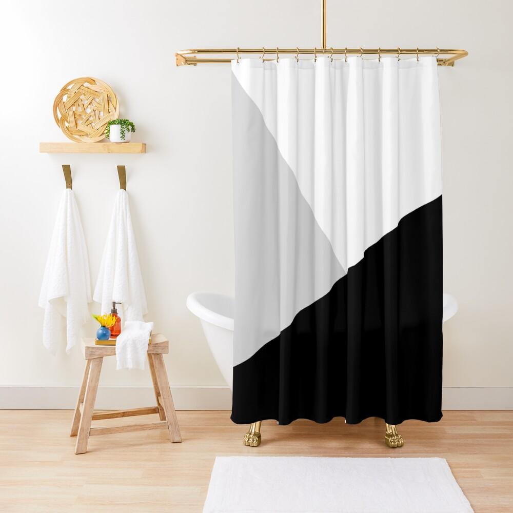 Monochromatic Black White Gray Color Block Shower Curtain