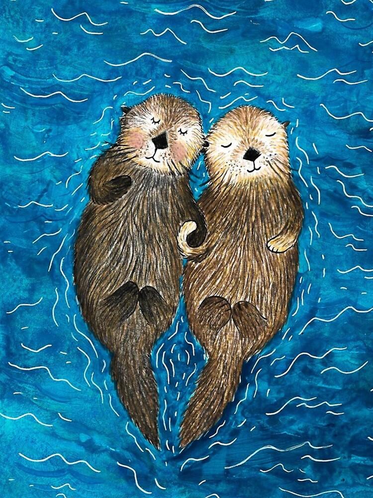 Sea Otters Holding Hands by emilienunez
