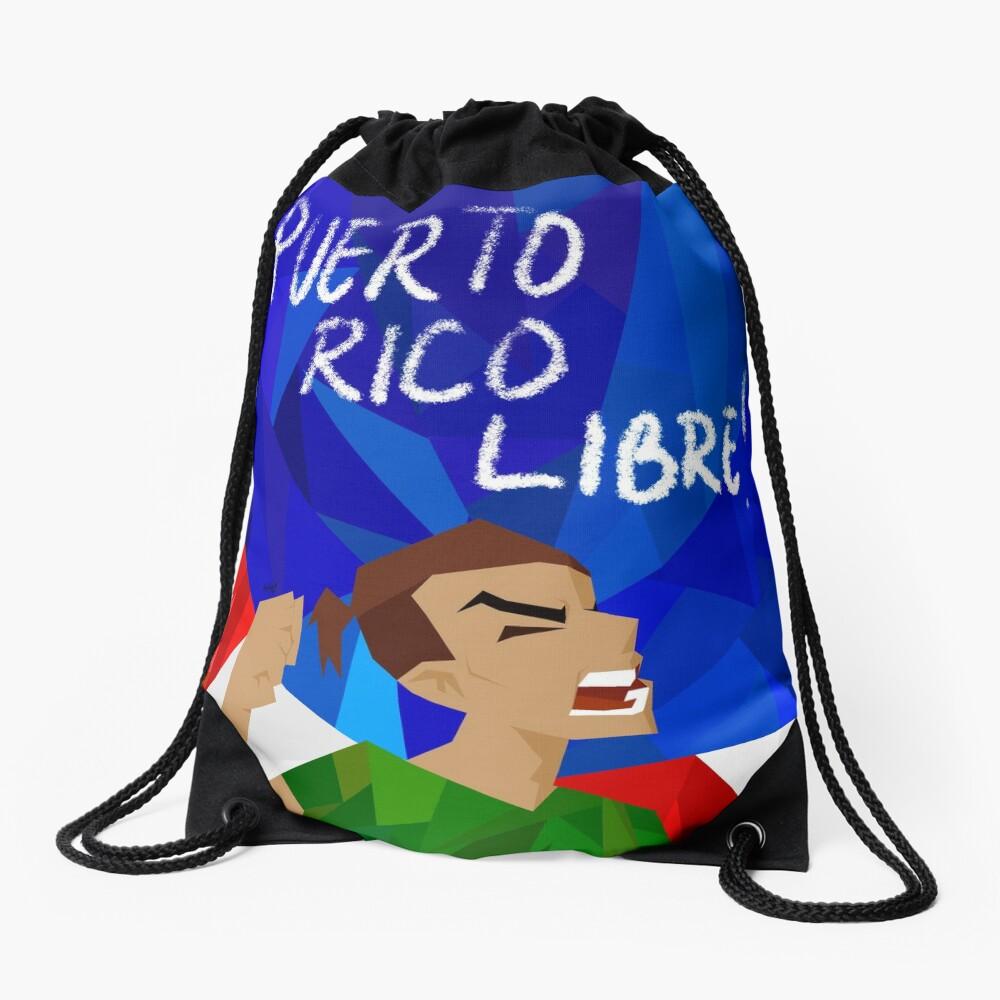 puerto rico libre Drawstring Bag