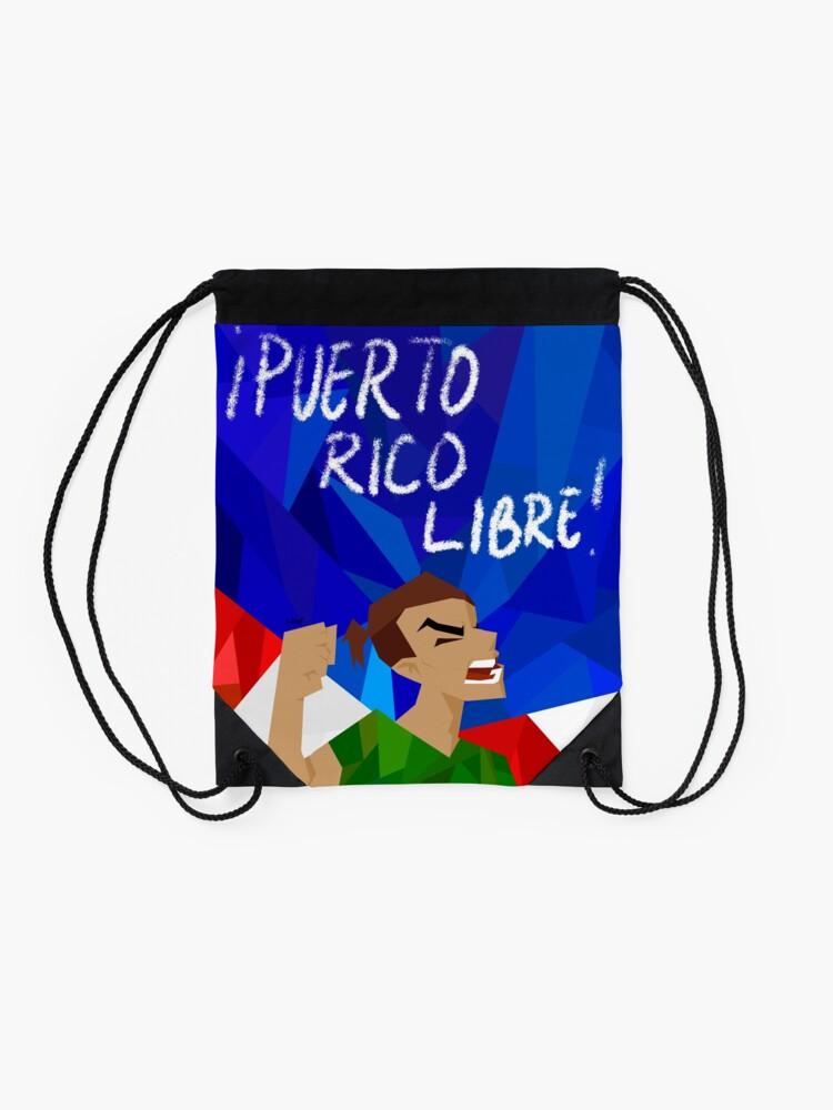 Alternate view of puerto rico libre Drawstring Bag