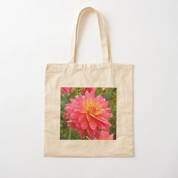 Pink Dahlia Cotton Tote Bag