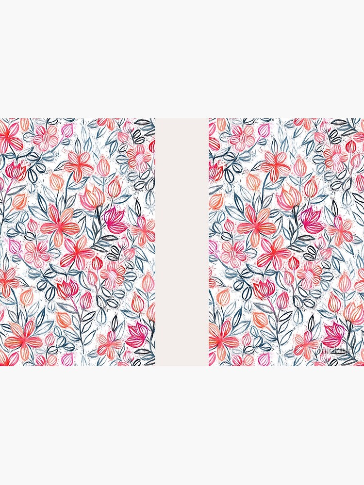 Coral and Grey Candy Striped Crayon Floral by micklyn