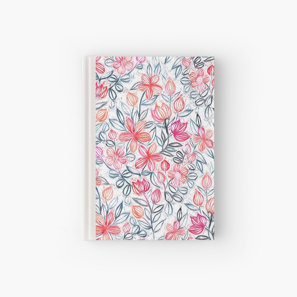 Coral and Grey Candy Striped Crayon Floral Hardcover Journal