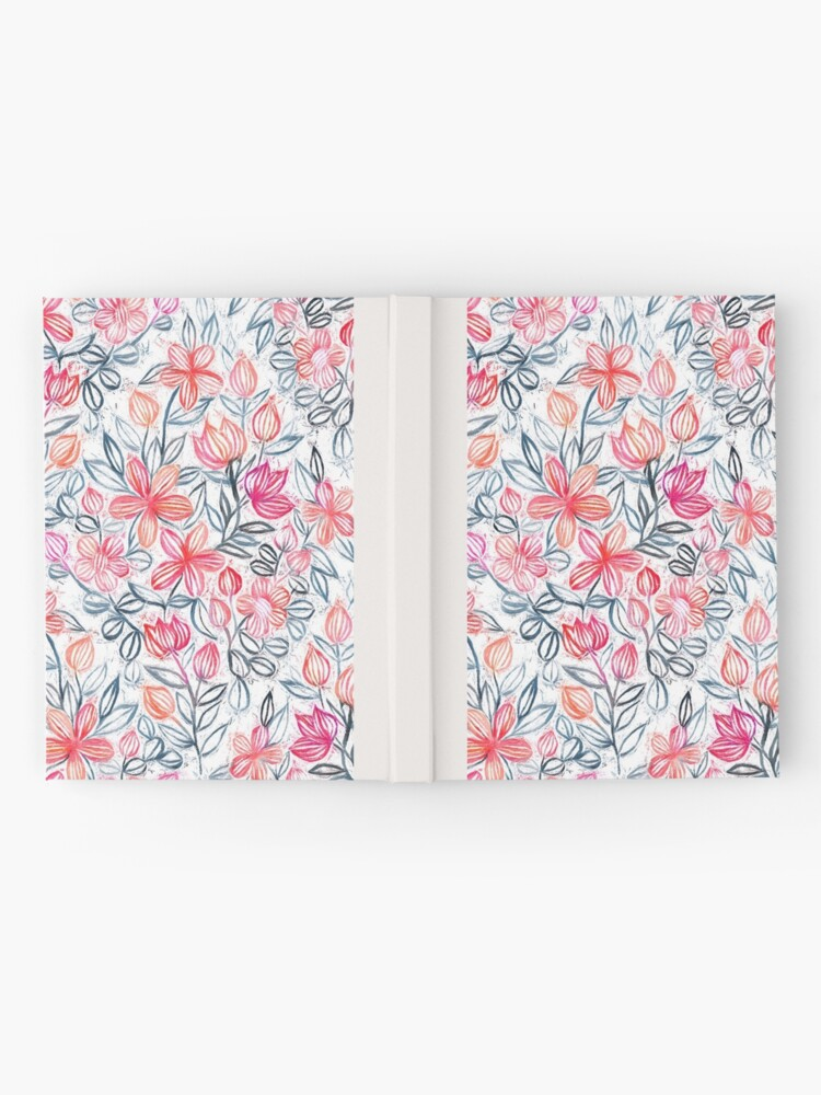 Alternate view of Coral and Grey Candy Striped Crayon Floral Hardcover Journal