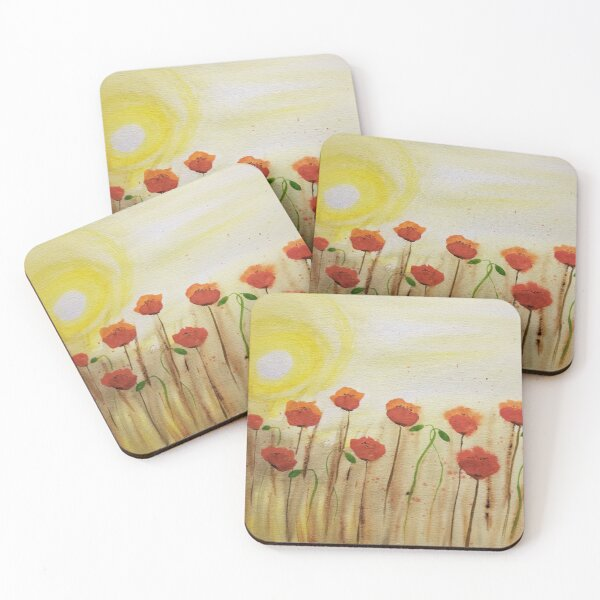 Poppies in the morning sun Coasters (Set of 4)