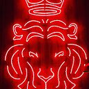 Red Neon Lion With A Crown Sign Poster By Wesleykatie Redbubble