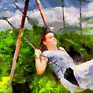 Girl on a Swing by LeftHandPrints