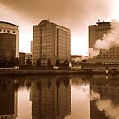 Belfast waterfront and steam train by Chris Millar