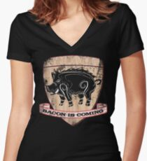House Pork - Bacon is Coming Women's Fitted V-Neck T-Shirt
