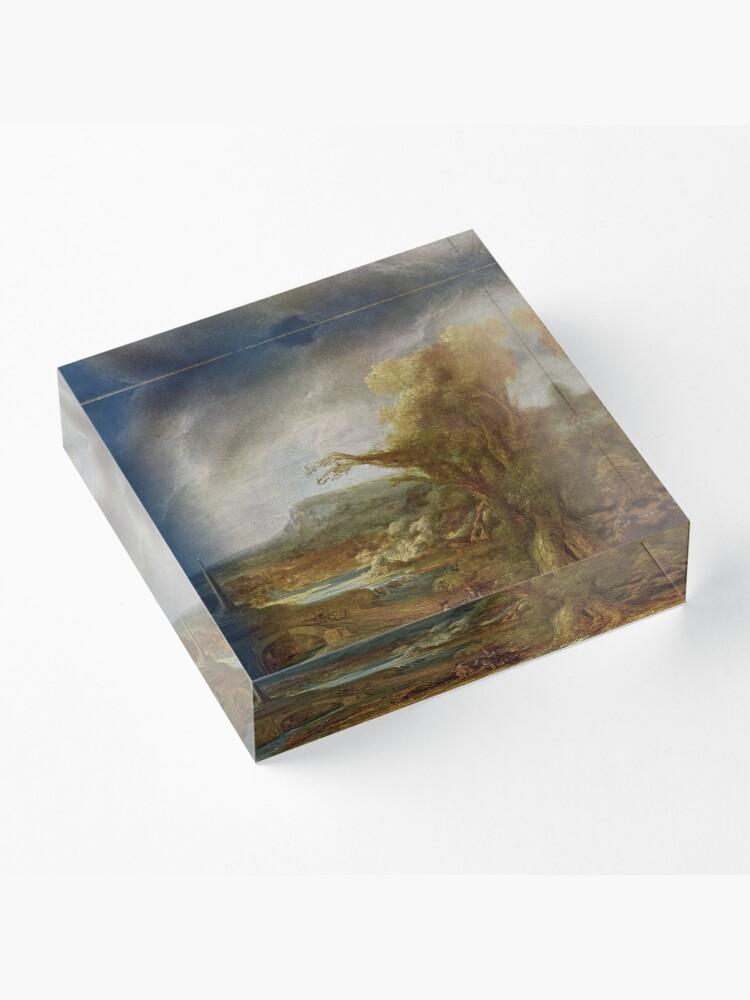 Alternate view of Stolen Art - Landscape with an Obelisk by Govert Flinck Acrylic Block