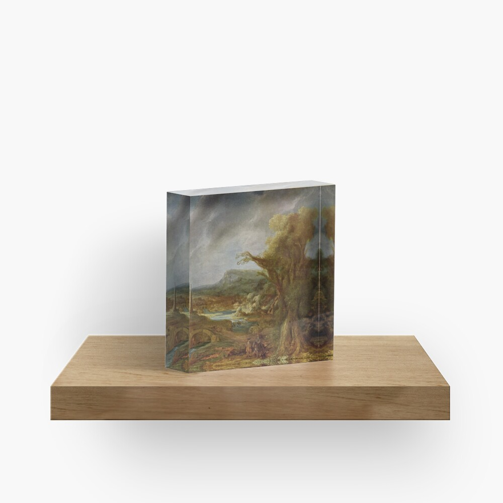 Stolen Art - Landscape with an Obelisk by Govert Flinck Acrylic Block