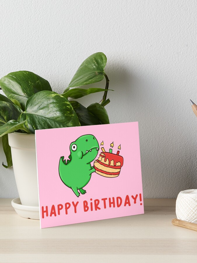 Strange T Rex With A Birthday Cake Art Board Print By Manydoodles Redbubble Personalised Birthday Cards Paralily Jamesorg